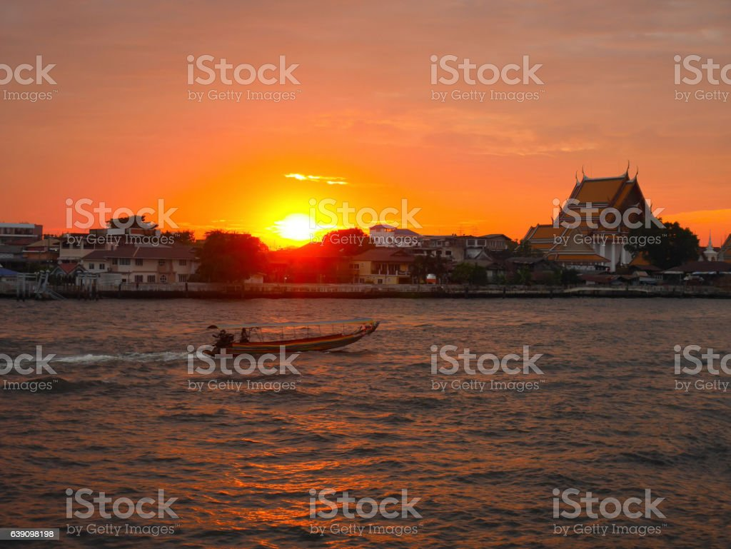 Scenery of Chao Phraya River at sunset in Bangkok stock photo