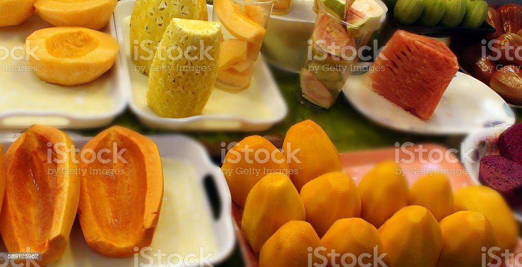 Scenery Of Fresh Fruits On The Market In Taipei Taiwan stock photo