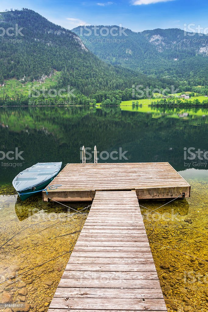 Scenery of Grundlsee lake in Alps stock photo