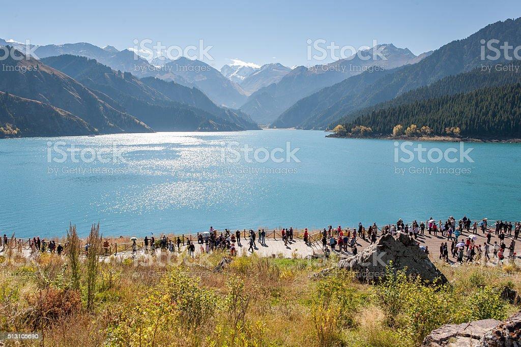 Scenery of Heaven Lake, Tianshan Tianchi National Geopark stock photo
