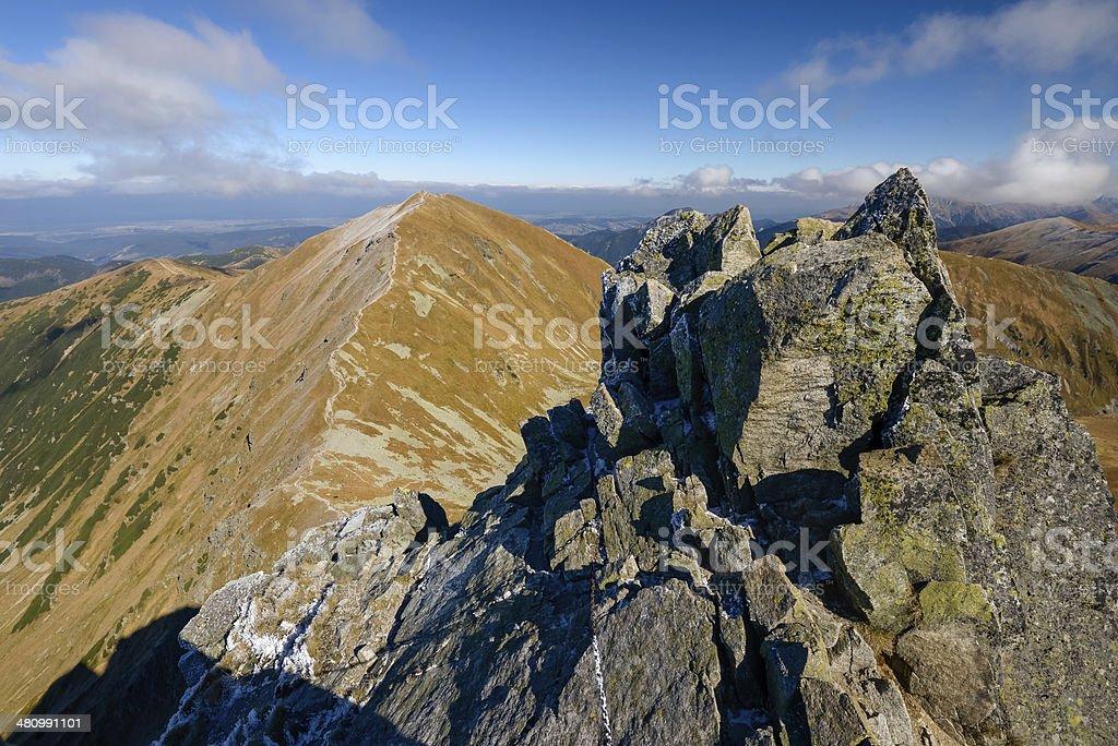 Scenery of high mountains. Beautiful autumn day. Tatras  Slovakia, Europe. royalty-free stock photo
