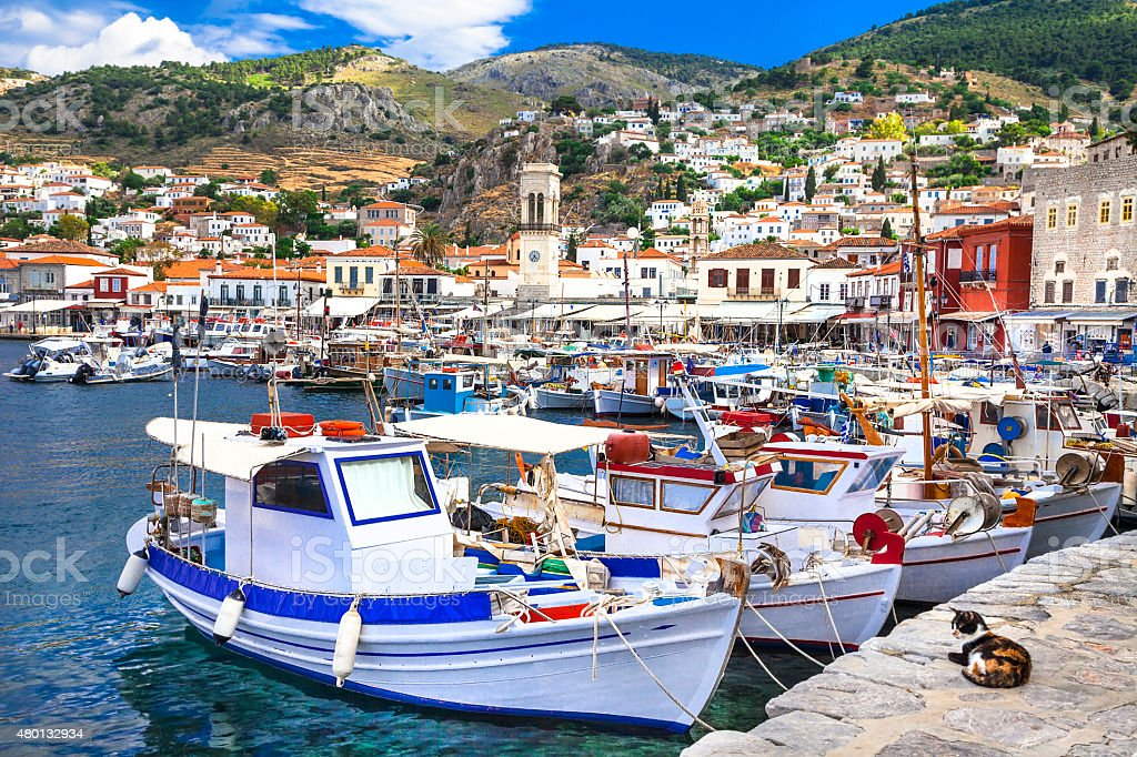 Scenery Of Hydra island,Saronics,Greece stock photo
