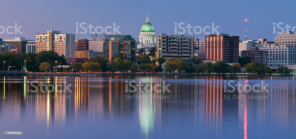 Scenery of Madison with a lake and tall office buildings stock photo