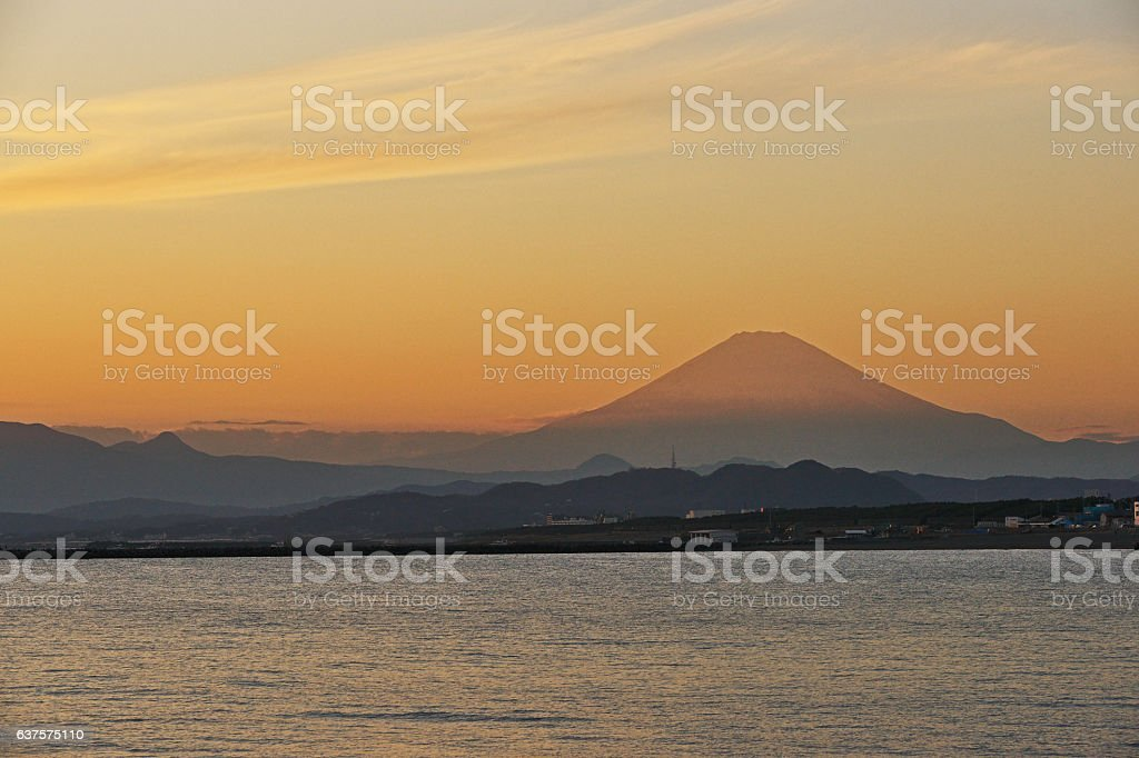 Scenery of Mount Fuji of the evening stock photo