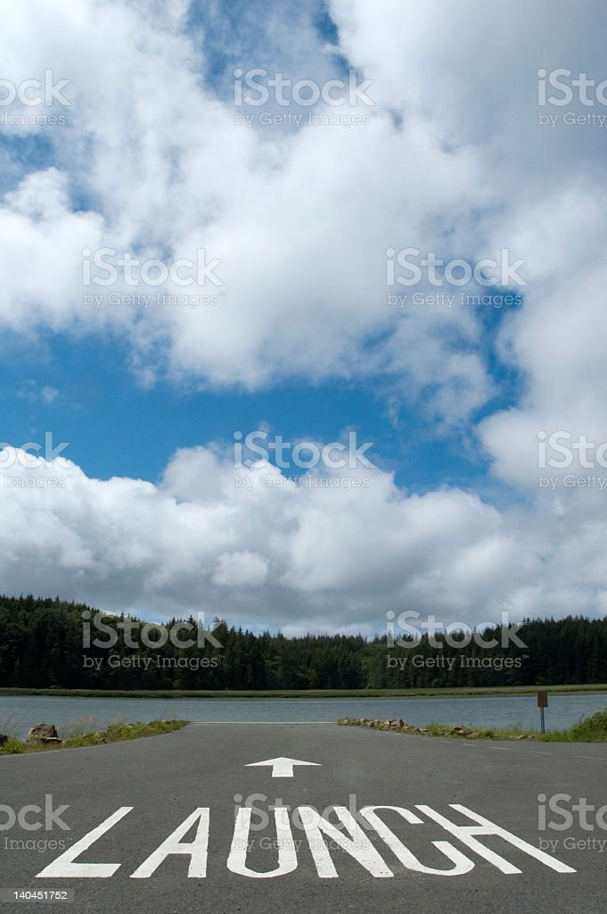 Scenery of outside with the word LAUNCH on the road stock photo
