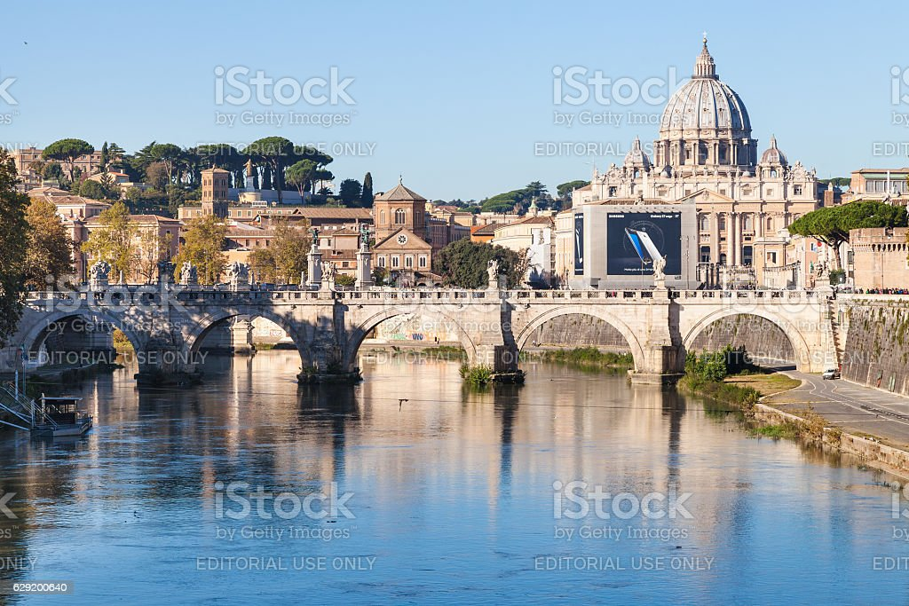 scenery of Rome and Vatican city in autumn stock photo