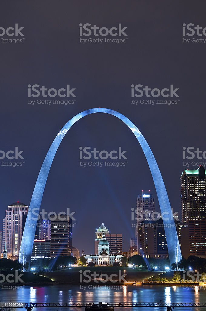 Scenery of St Louis with blue lighting and tall buildings stock photo