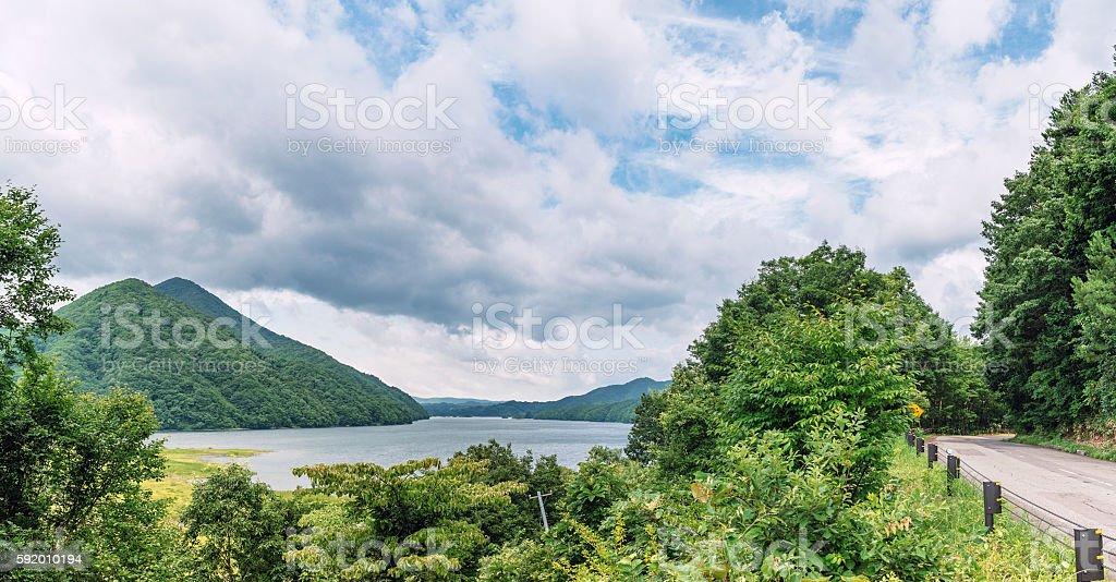 Scenery of the Akimoto lake in Urabandai, Japan stock photo