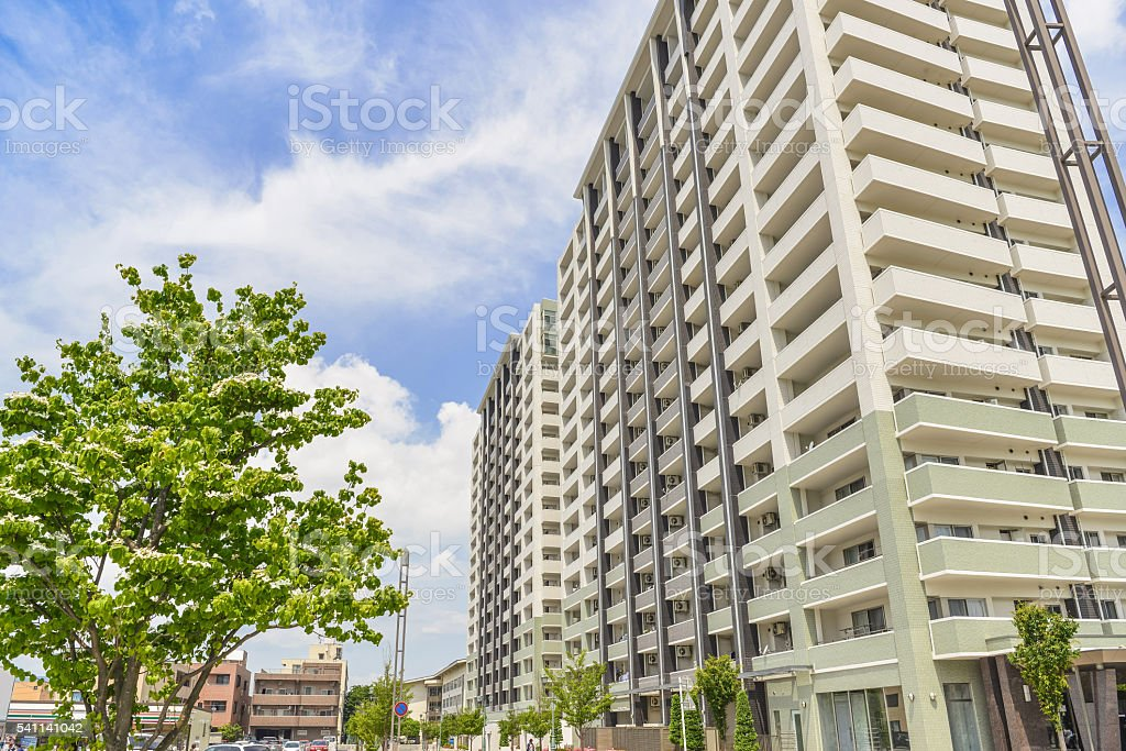 Scenery of the apartment complex of the downtown stock photo
