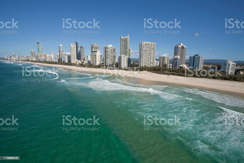 Scenery of the gold coast and tall buildings royalty-free stock photo