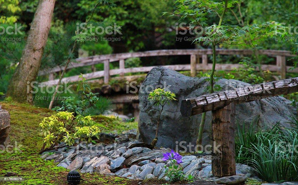 Scenery of the Japanese garden foto de stock libre de derechos