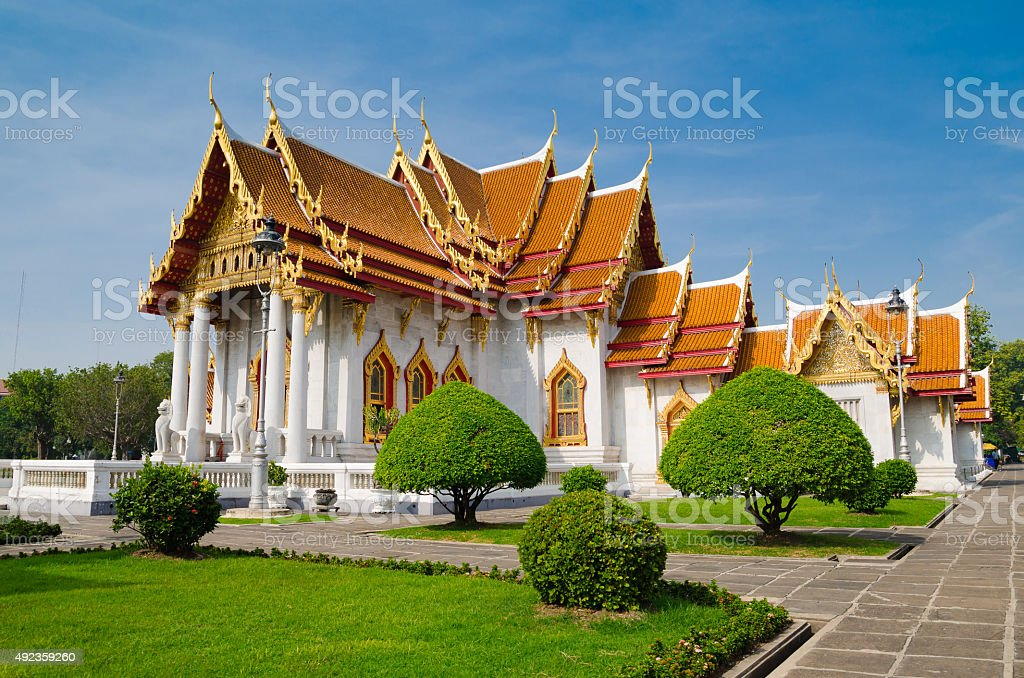 Scenery of The Marble Temple (Wat Benchamabophit), Bangkok, Thailand. stock photo