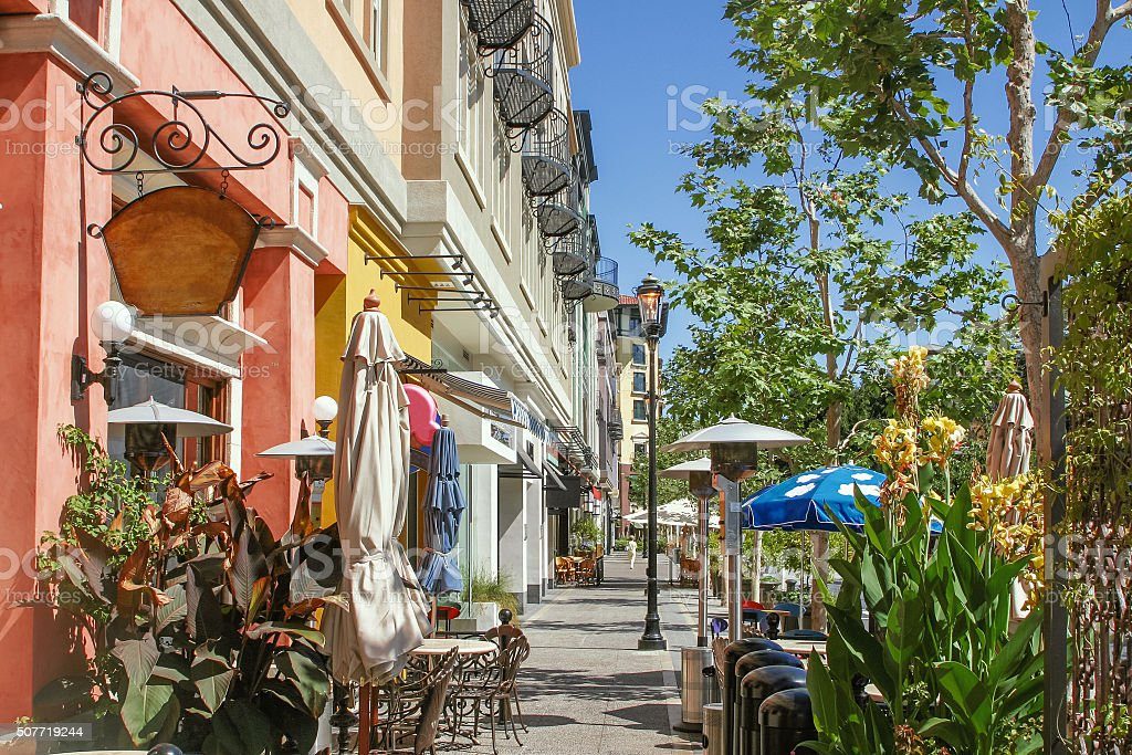 Scenery of the shopping street in San Jose stock photo