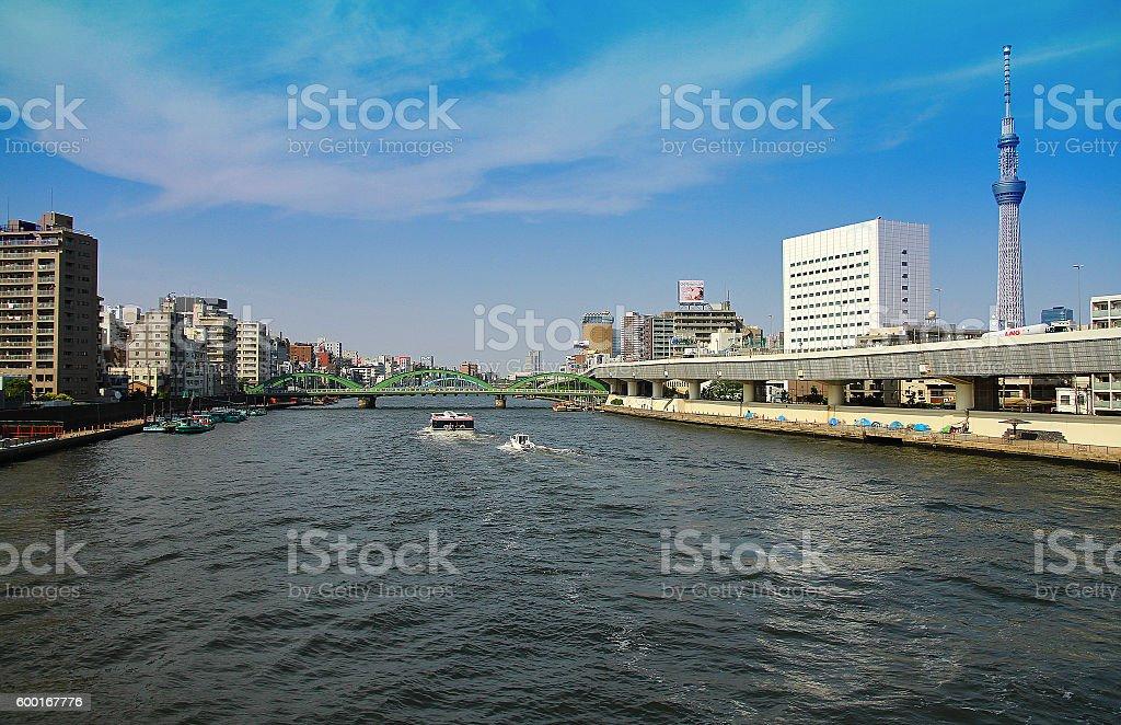 Scenery of the Sumida River foto de stock libre de derechos