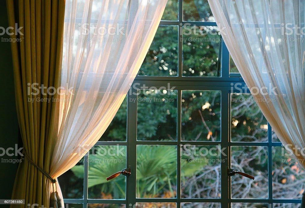 Scenery of the window of the setting sun foto de stock libre de derechos