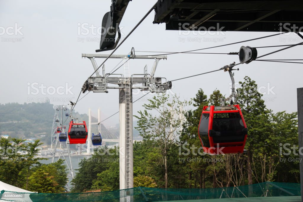 Scenery passing over the head of Yeosu Cable Car. stock photo