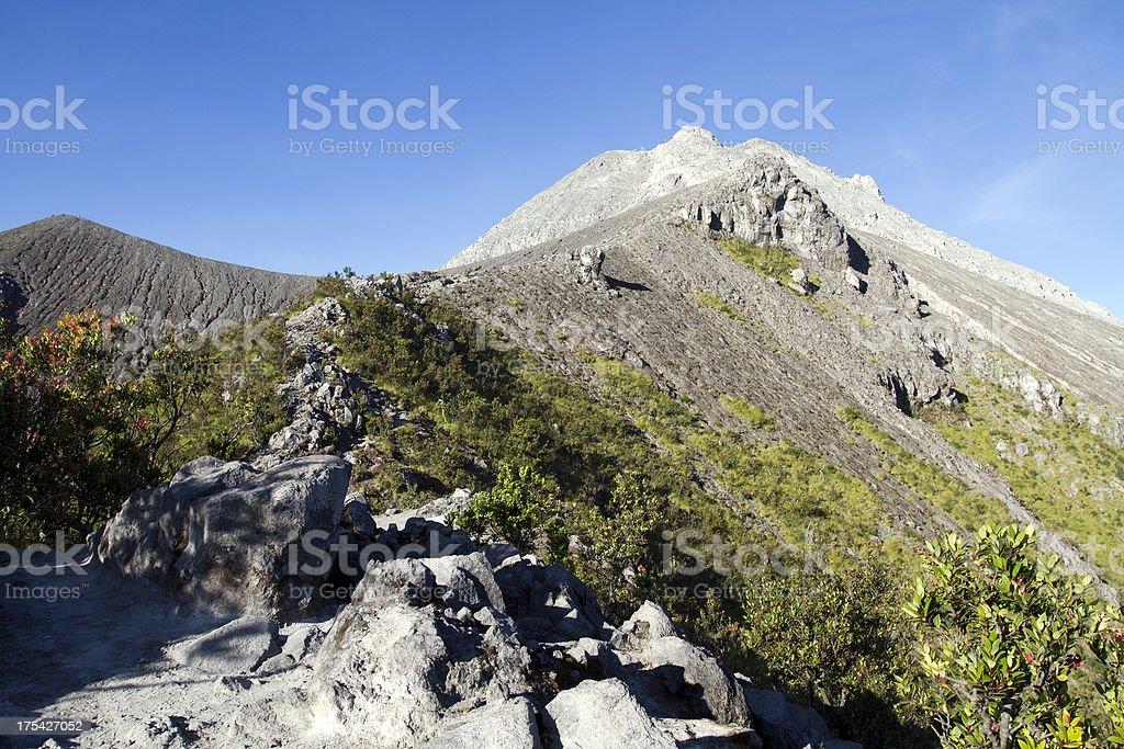 Scenery towards the top of Merapi Volcano. stock photo