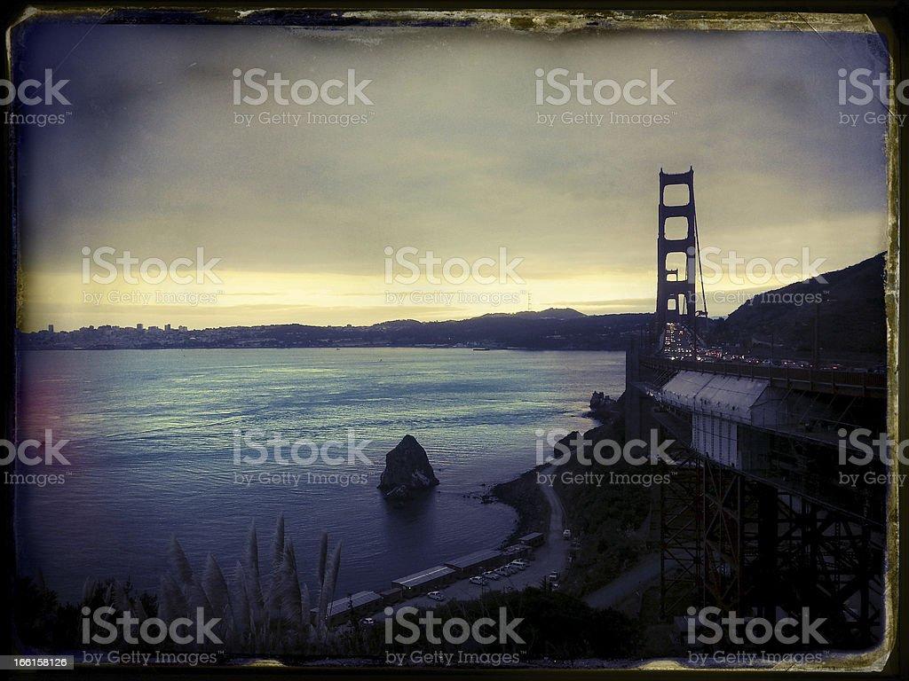 Scenery with Golden Bridge San-Francisco Instant Film Vintage royalty-free stock photo