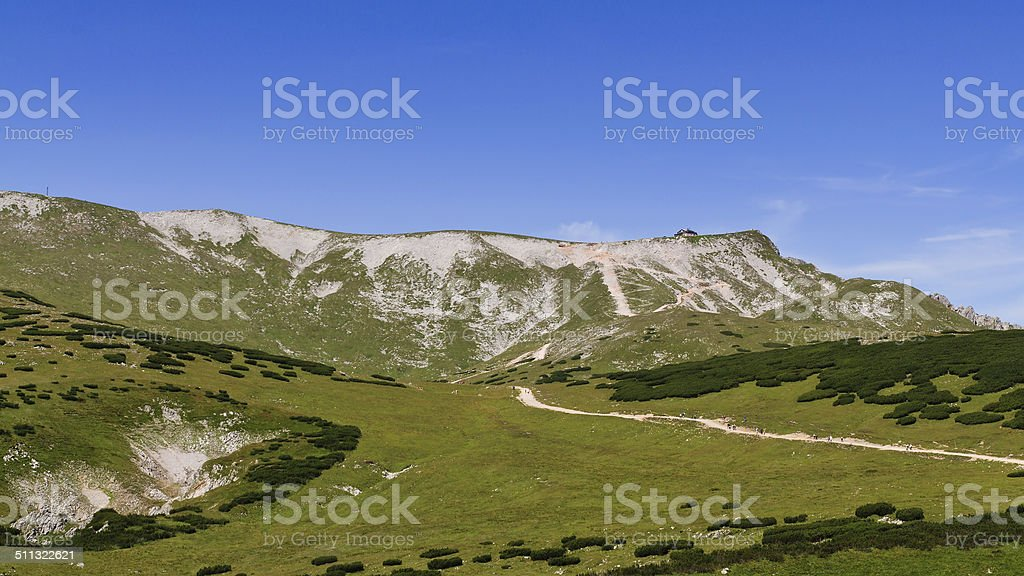scenery with hiking trail to Fischerhutte on Schneeberg, Lower Austria stock photo