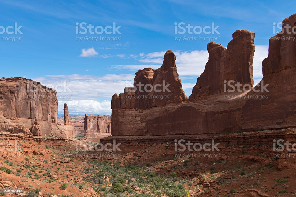 Scenery with Rock Formations in Arches in Utah stock photo
