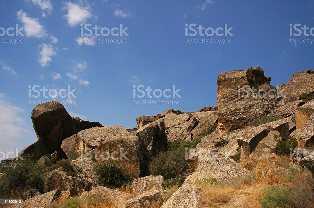 Scenery with rocks and blue clear sky royalty-free stock photo