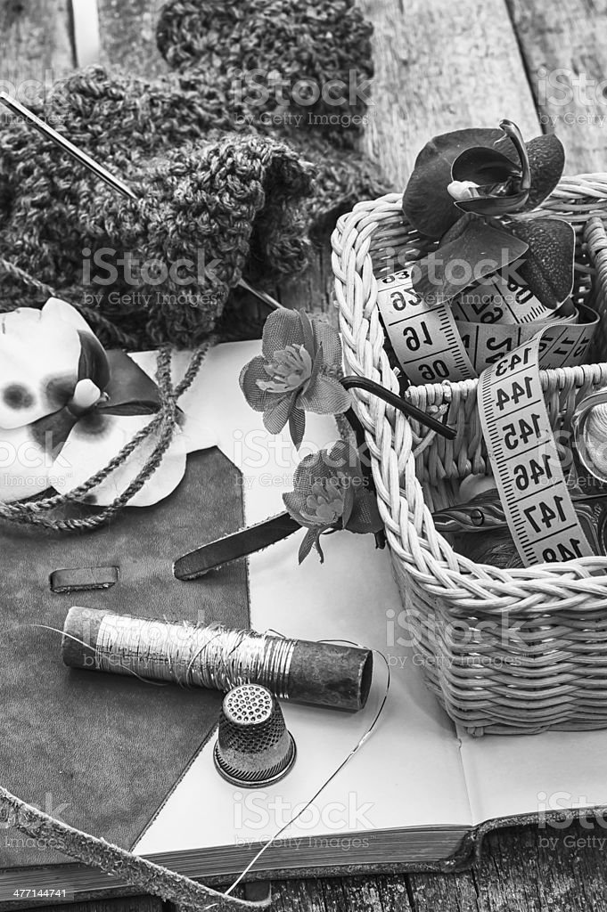 scenery with tools for sewing activities royalty-free stock photo