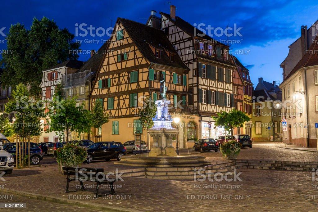Scenes and architecture in Colmar at Night stock photo