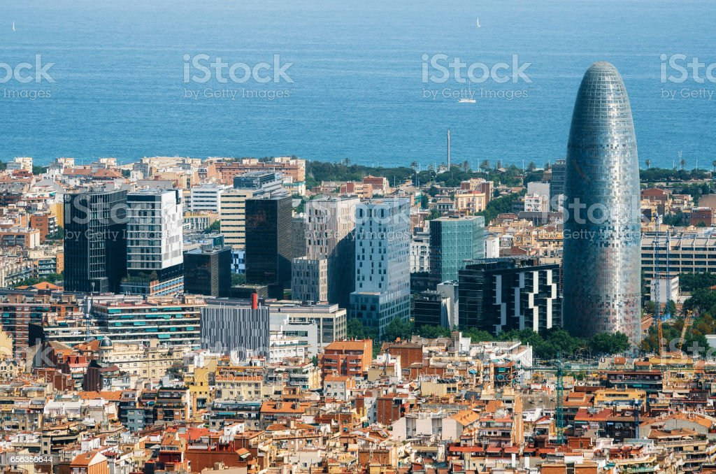 Scenic aerial cityscape with skyscrapers in Barcelona in Spain stock photo