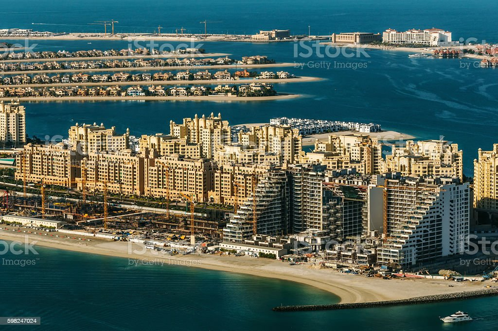 Scenic aerial view of Dubai Palm Jumeirah with luxury hotels stock photo
