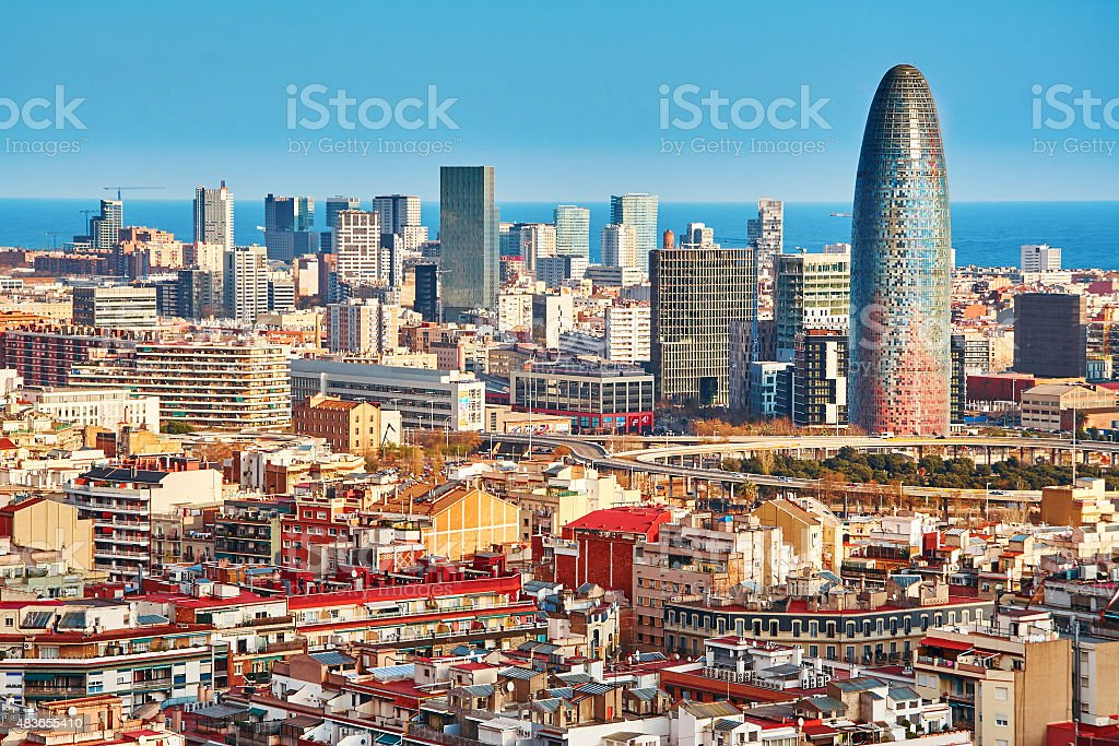 Scenic aerial view of the Agbar Tower in Barcelona stock photo