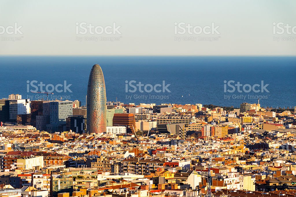 Scenic aerial view of the city of Barcelona in Spain stock photo