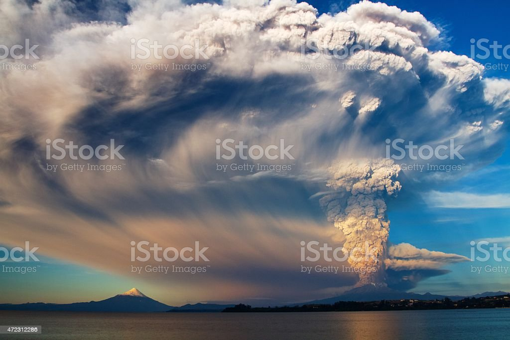 Scenic air shot of Calbuco Volcano erupting stock photo