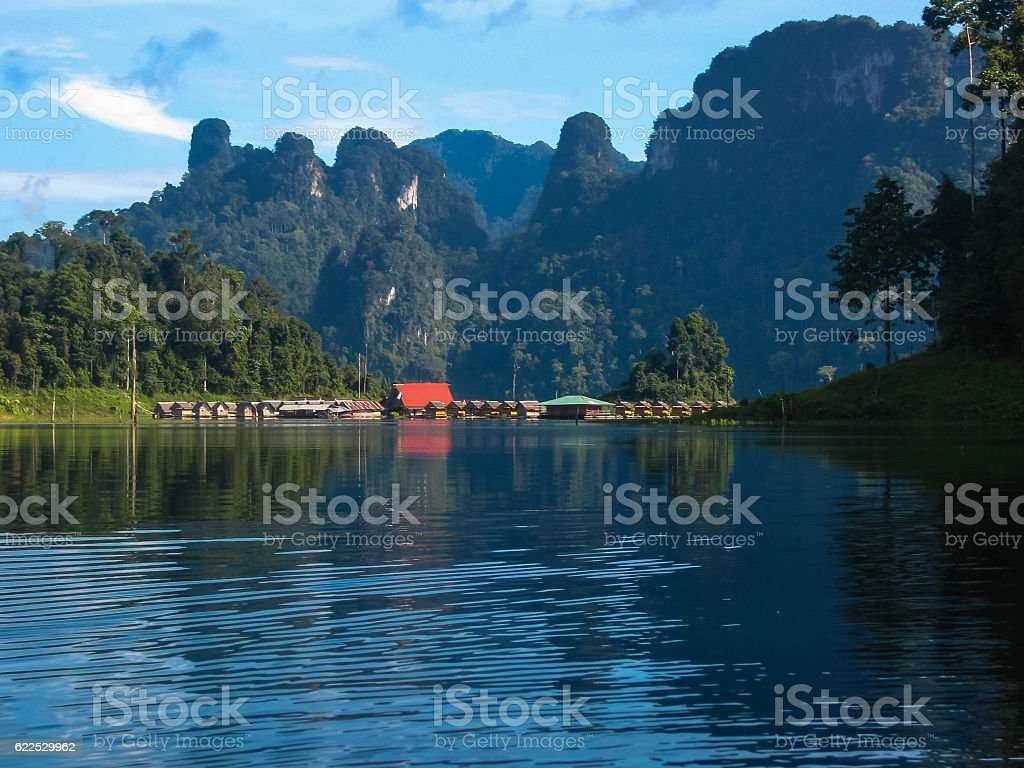 Scenic and unique landscape at Chieou Laan lake, Thailand stock photo