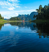 Scenic and unique landscape at Chieou Laan lake, Thailand