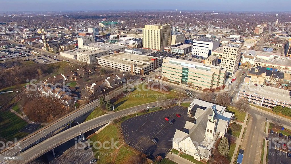 Scenic Appleton, Wisconsin, Downtown Buildings Aerial View stock photo