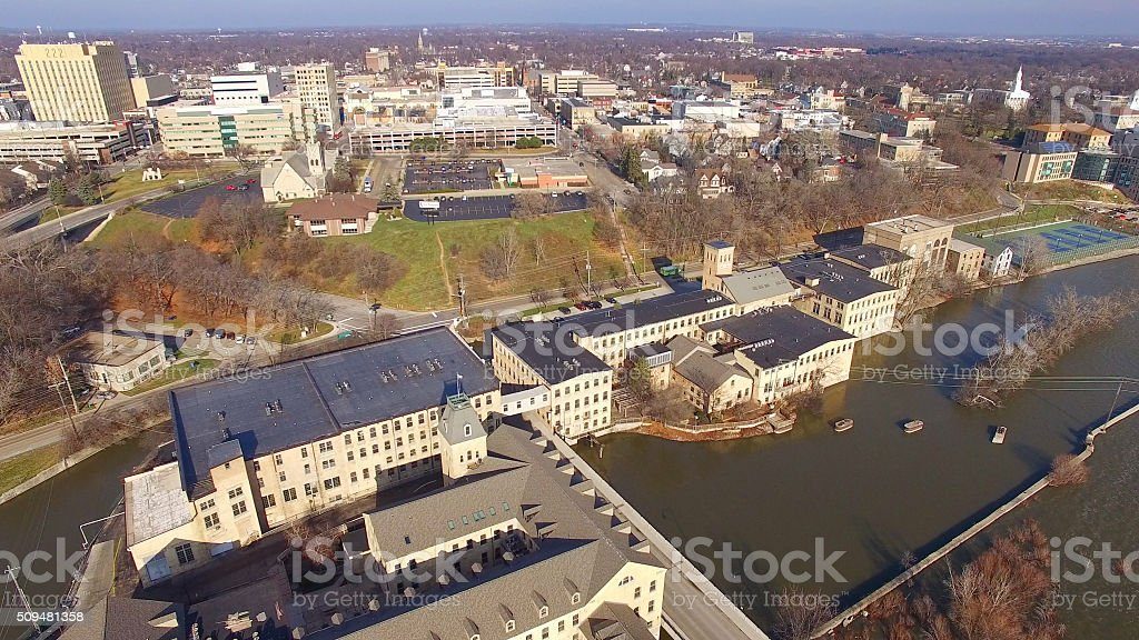 Scenic Appleton, Wisconsin, Downtown Buildings, Riverfront, Aerial View stock photo
