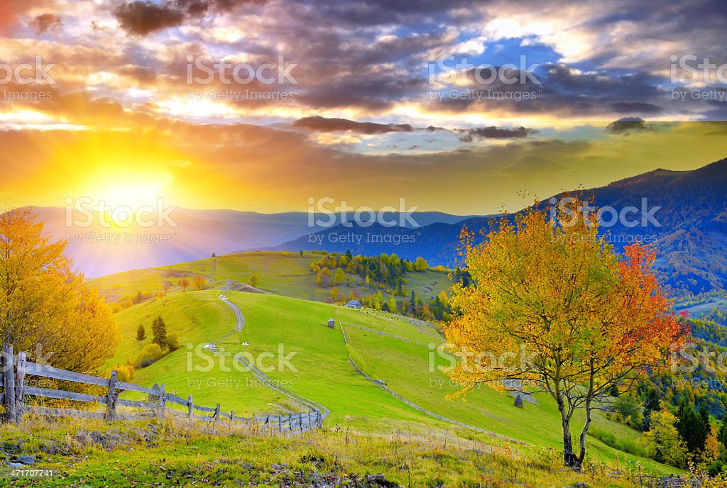 A scenic autumn landscape with mountains stock photo