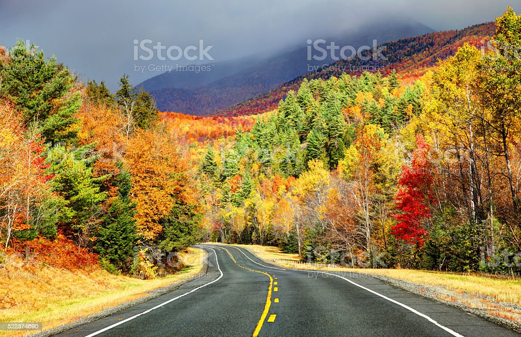 Scenic Autumn road in the Adirondacks region of New York stock photo