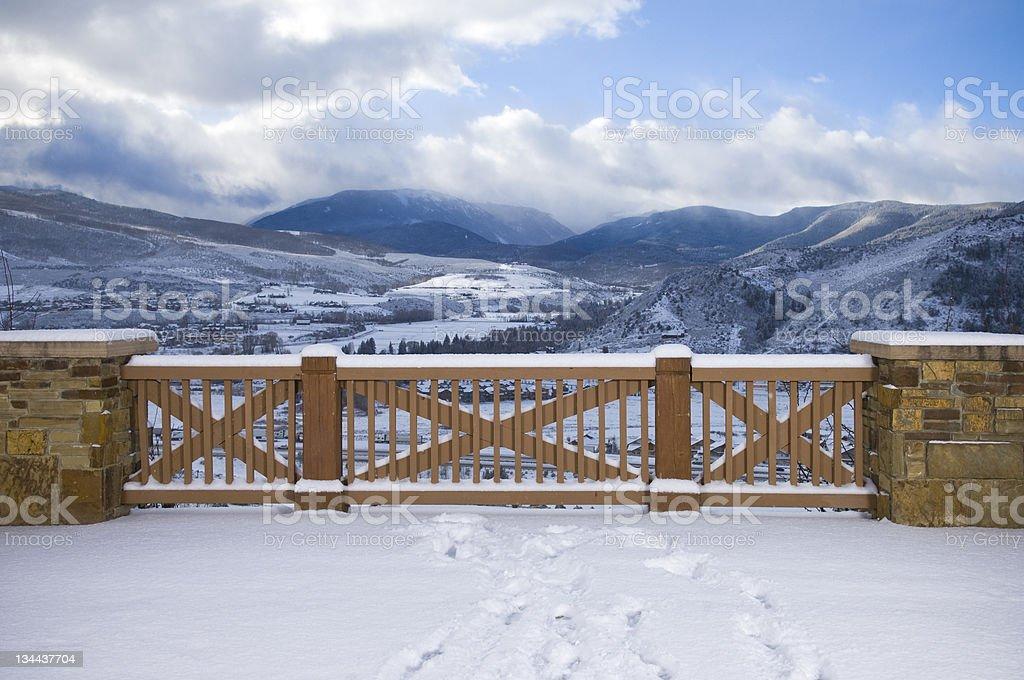 Scenic Balcony with Mountain View stock photo