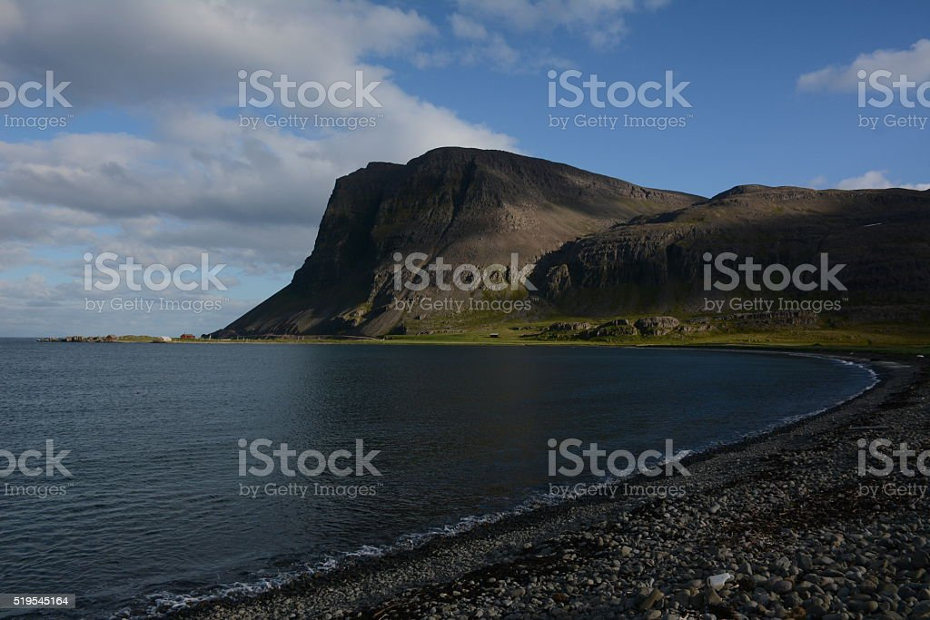 Scenic bay along the route to Djupavik Iceland stock photo