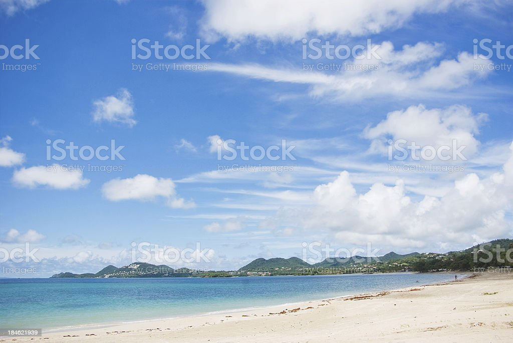 scenic beach landscape with blue sky stock photo