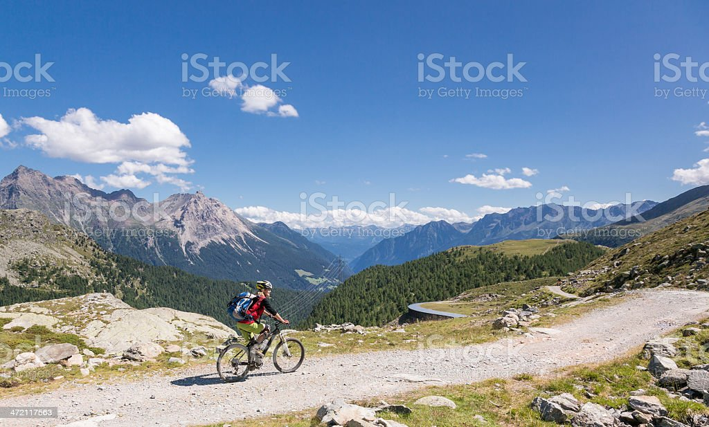 Scenic Bernina downhill, Switzerland stock photo