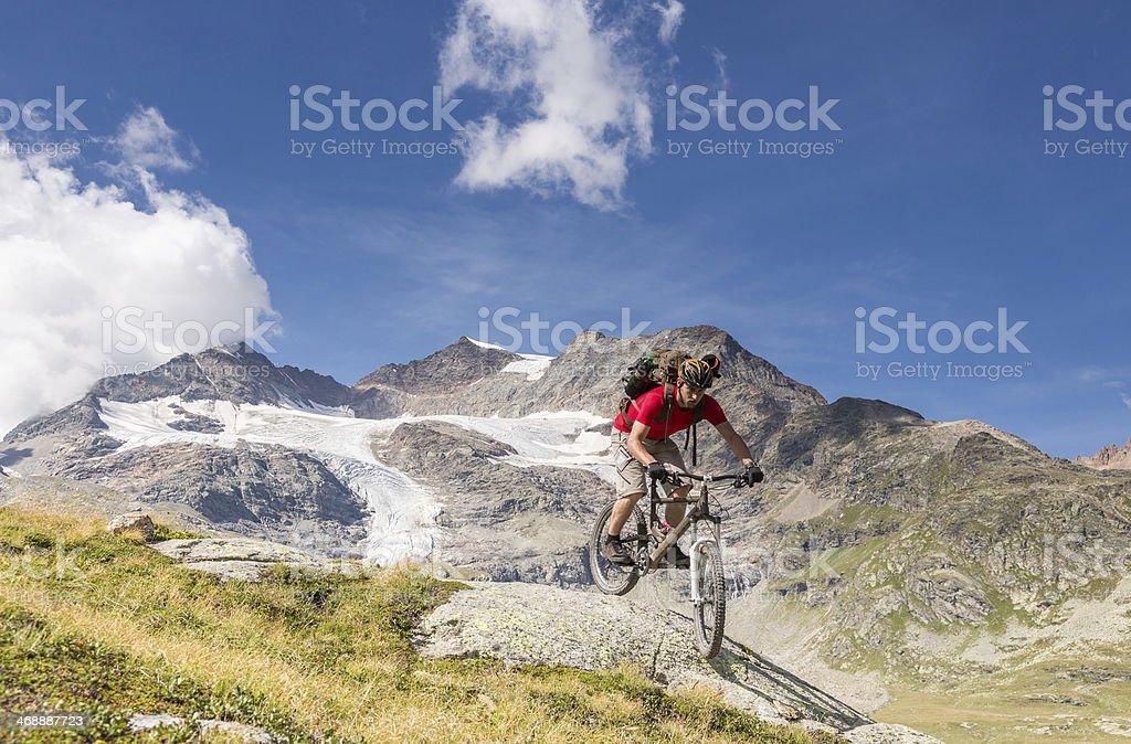 Scenic Bernina Mountainbiking, Switzerland stock photo