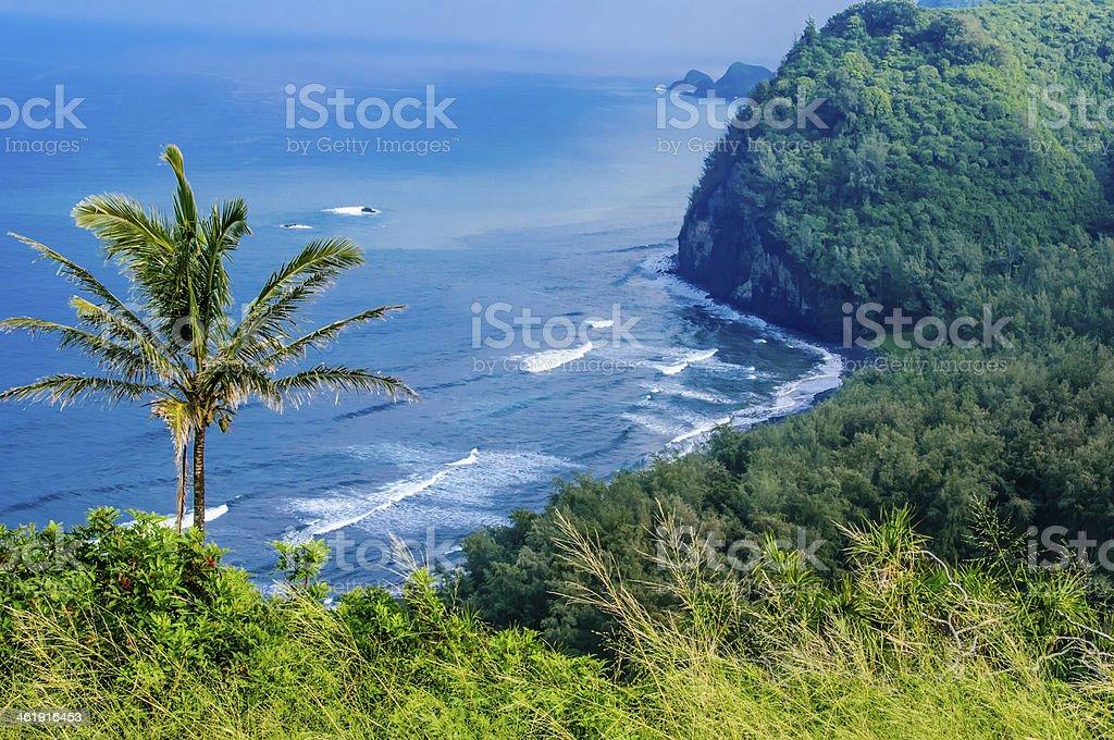 Scenic bird's-eye view of Hawaiian coastline stock photo