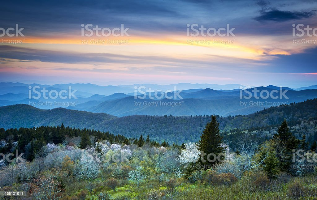 Scenic Blue Ridge Parkway Appalachians Smoky Mountains Spring Landscape stock photo