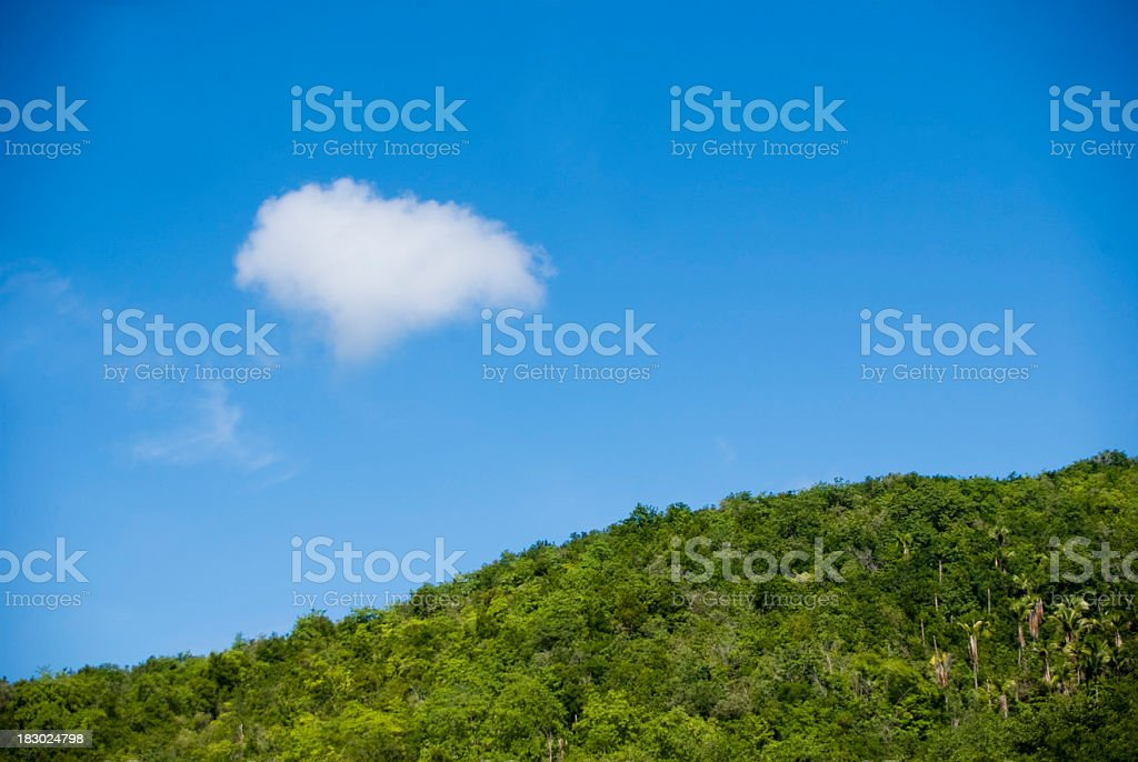 scenic blue sky, cloud and mountain stock photo