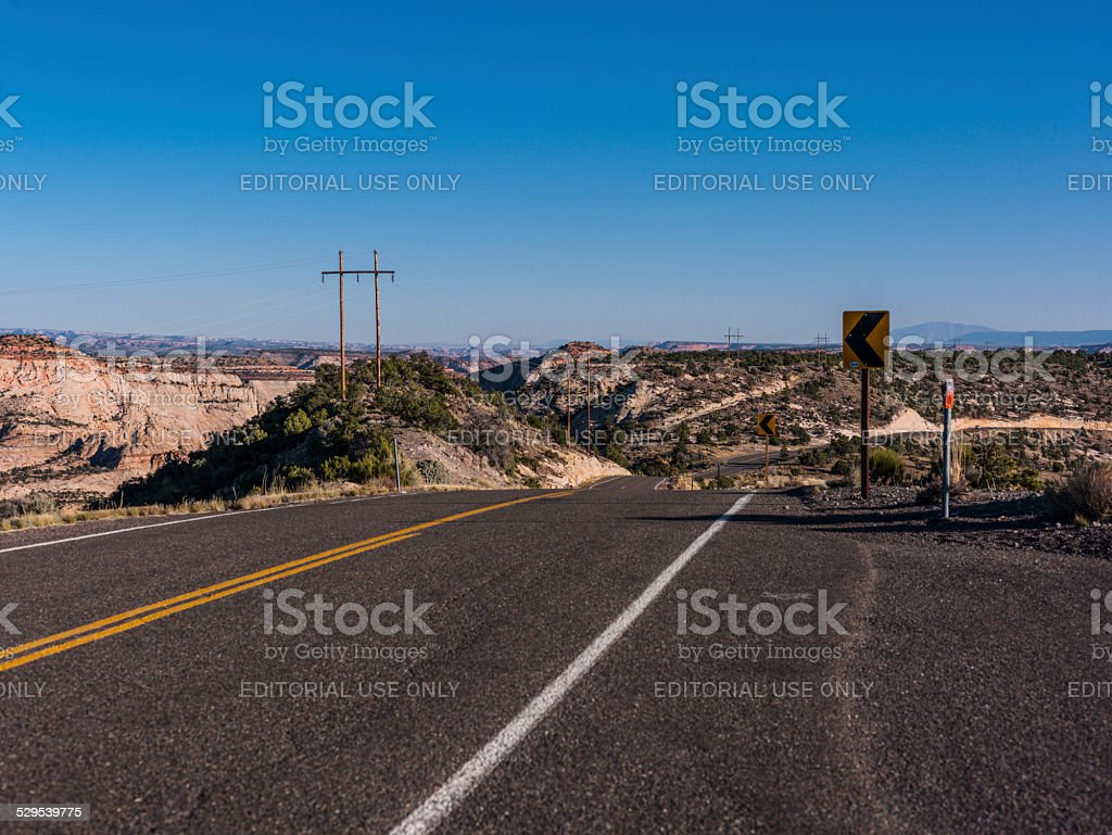 Scenic Byway 12 between Boulder and Escalante with landscape stock photo
