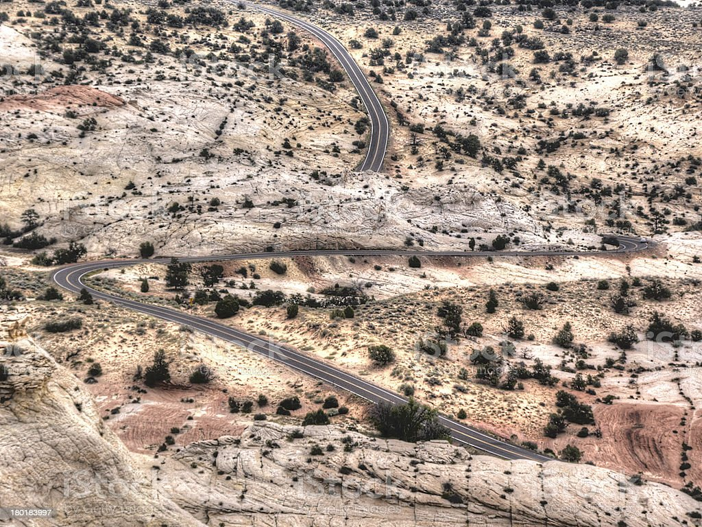 Scenic byway twists through the Utah desert royalty-free stock photo