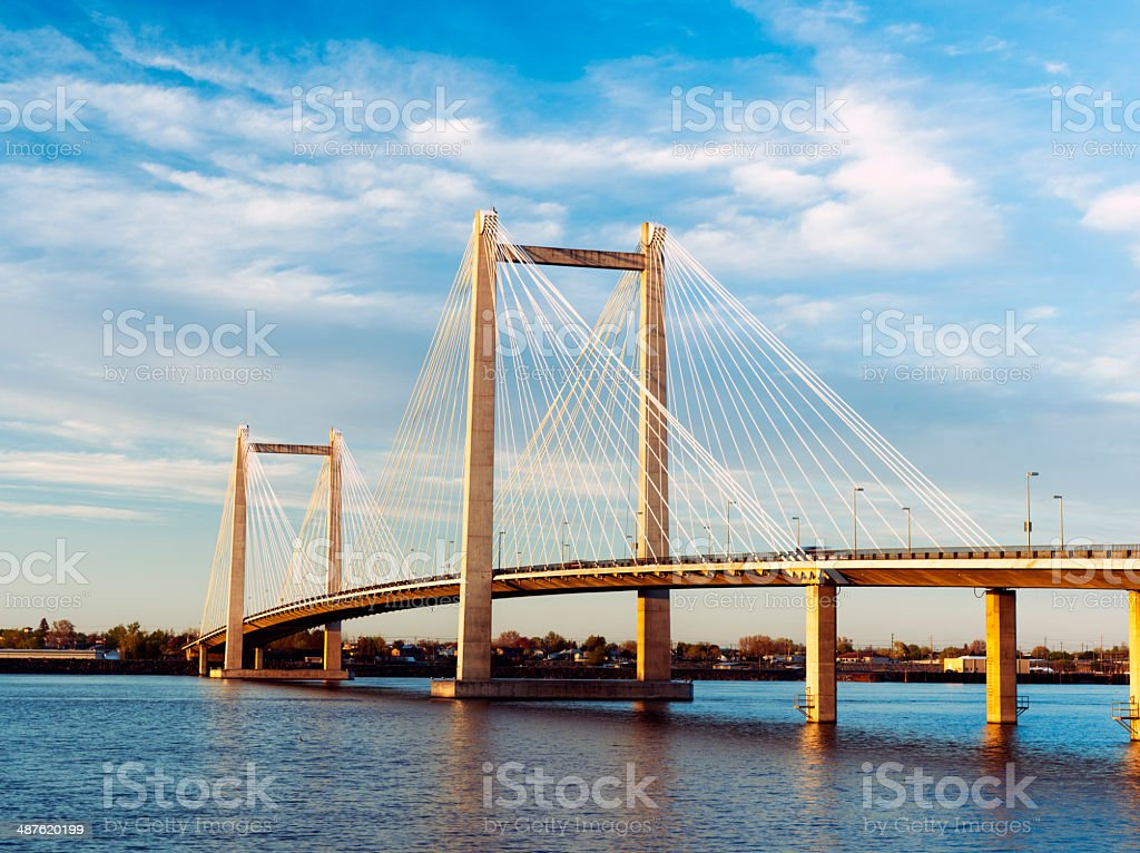 Scenic Cable bridge in Washington. stock photo