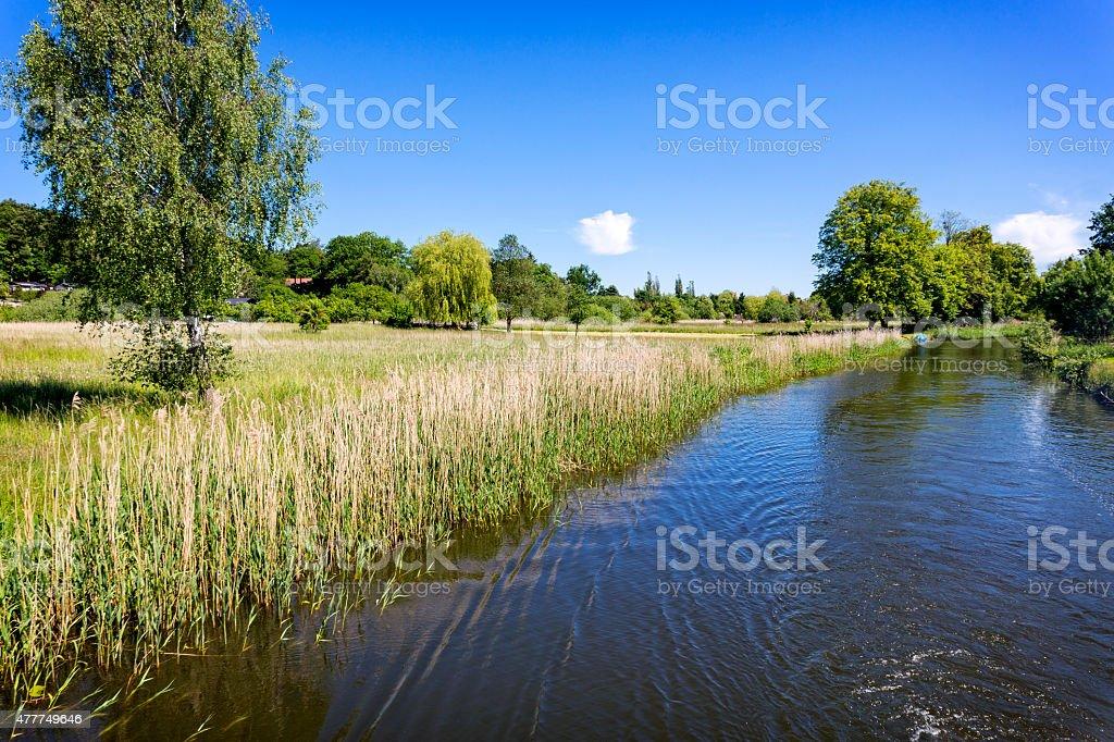 Scenic canal near Templin city, East Germany stock photo